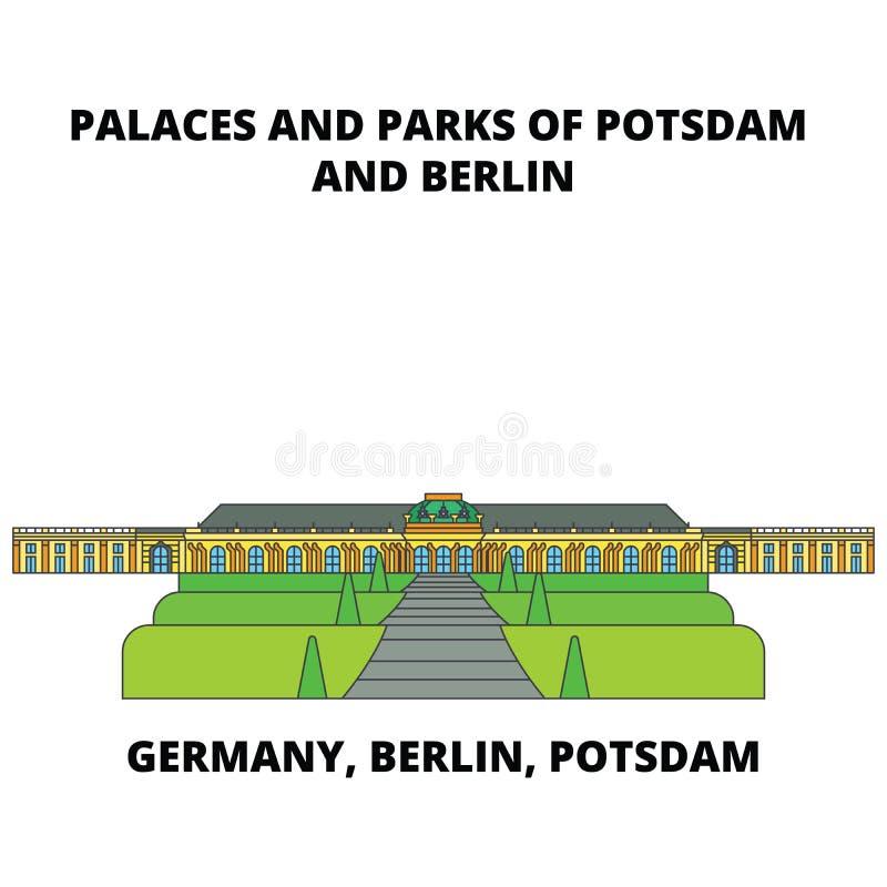 Alemanha, Berlim, Potsdam, os palácios e os parques alinham o conceito do ícone Vetor liso de Alemanha, de Berlim, de Potsdam, de ilustração do vetor