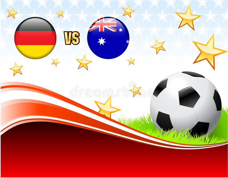 Alemanha contra Austrália no fundo vermelho abstrato com estrelas ilustração royalty free