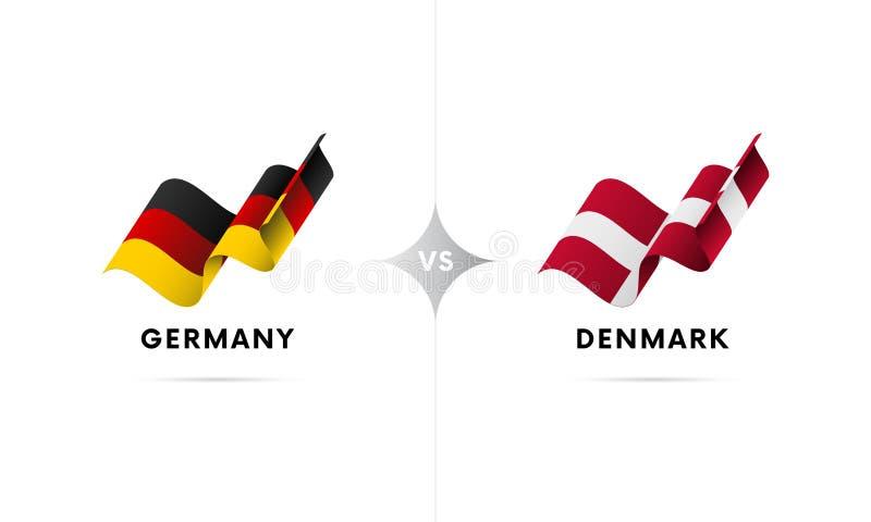 Alemanha contra Dinamarca Futebol Ilustração do vetor ilustração stock