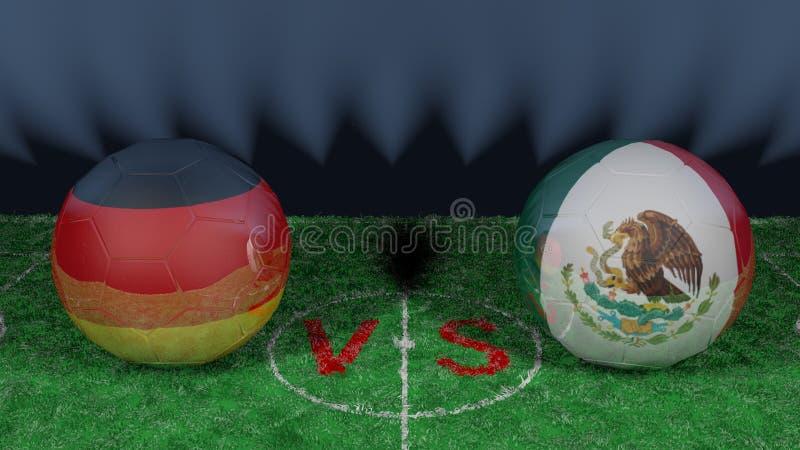 Alemanha contra México Campeonato do mundo 2018 de FIFA Imagem 3D original ilustração royalty free