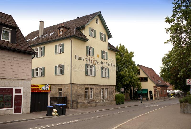 ALEMANHA - 29 de maio de 2012: Nurtingen, rua é uma cidade em Alemanha do sul É ficado situado no rio Neckar imagens de stock