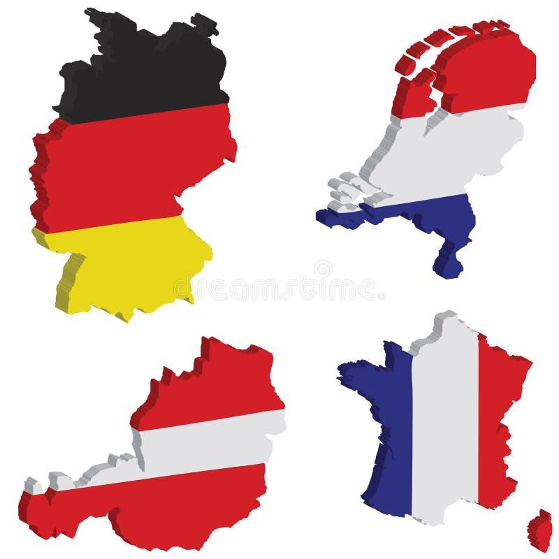 Alemanha, Dutch, France, Áustria ilustração royalty free