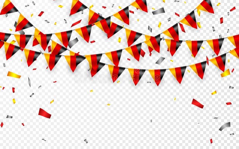 Alemanha embandeira o fundo branco da festão com confetes, estamenha do cair para a bandeira alemão do molde da celebração do dia ilustração royalty free