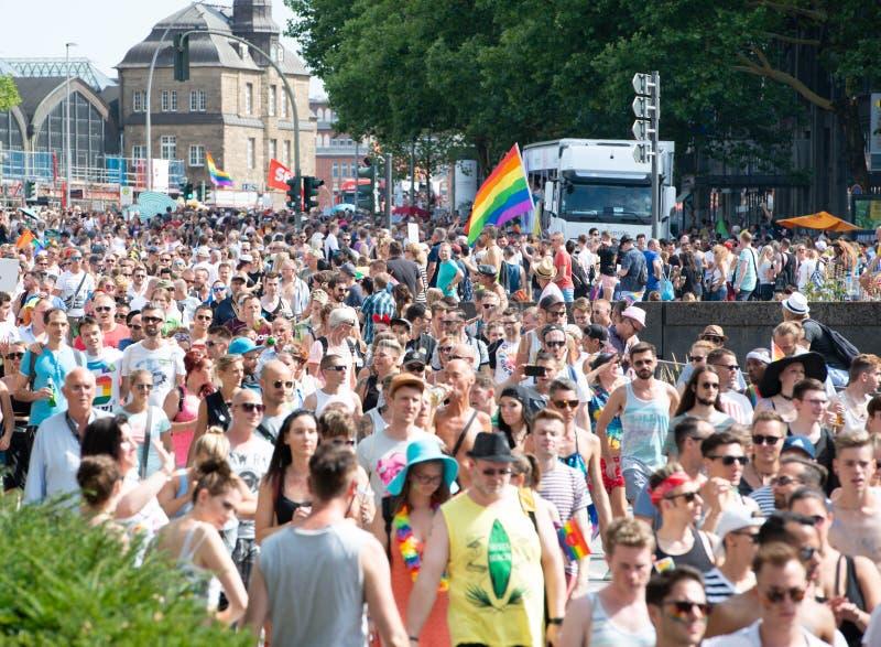 Alemanha, Hamburgo - 4 de agosto de 2018: Dia da rua de Christopher Parada do amor em Hamburgo foto de stock royalty free