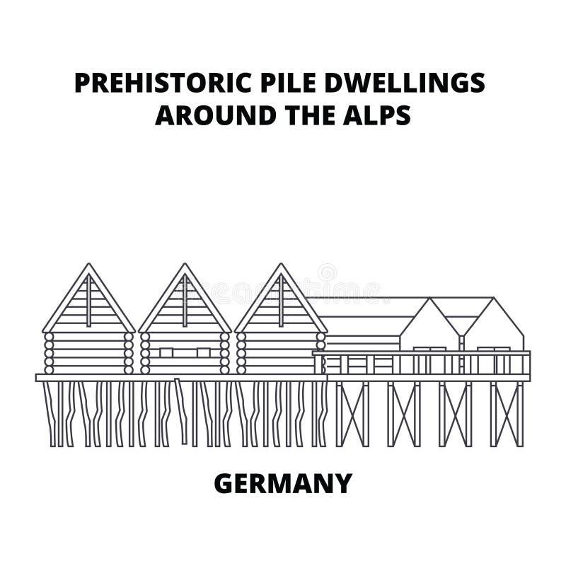 Alemanha, moradias de pilha pré-históricas em torno dos cumes alinha o conceito do ícone Alemanha, moradias de pilha pré-históric ilustração stock