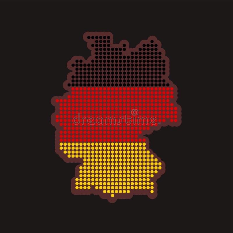 Alemanha pontilhou o mapa nas cores da bandeira no fundo preto - forma do esboço do país, ilustração do vetor ilustração stock