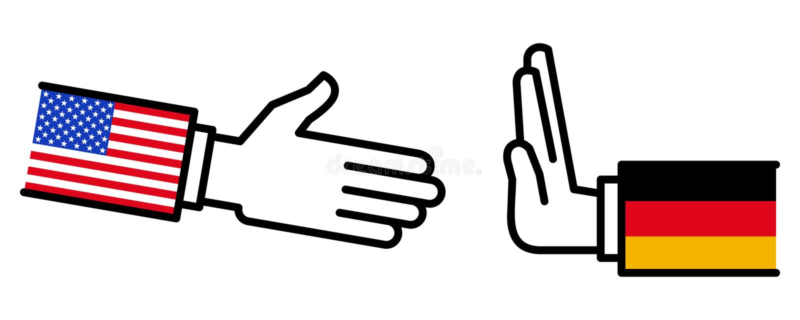 Alemanha que recusa agitar as mãos com EUA, disputa, negociações, relações de negócio, conceito, linha ícones ilustração stock