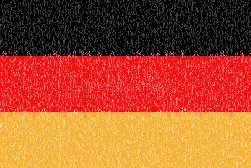 Alemania, bandera con la gente del palillo, los ciudadanos, el gr?fico conceptual, la muchedumbre de hombres rojos y amarillos ne ilustración del vector
