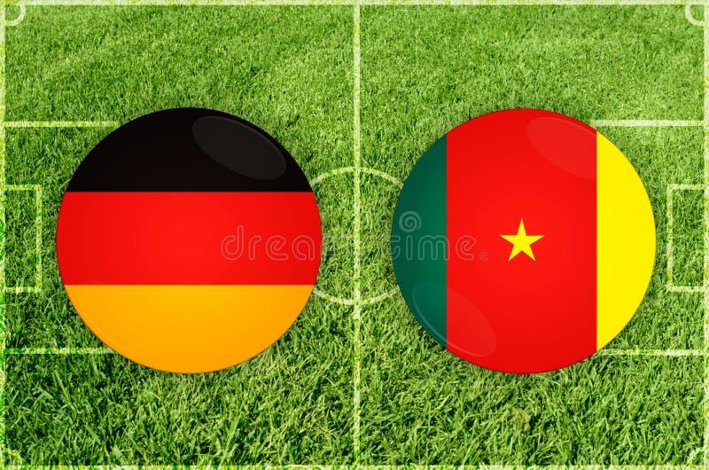 Alemania contra partido de fútbol del Camerún fotografía de archivo