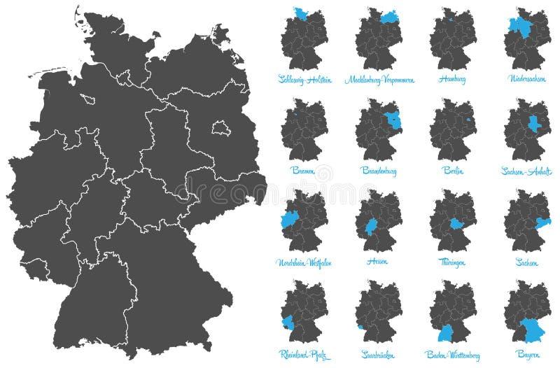 Alemania detalló el mapa con el sistema del vector de estados federales stock de ilustración