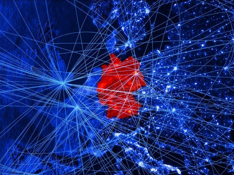 Alemania en mapa digital azul con las redes Concepto de viaje internacional, de comunicación y de tecnología ilustración 3D stock de ilustración