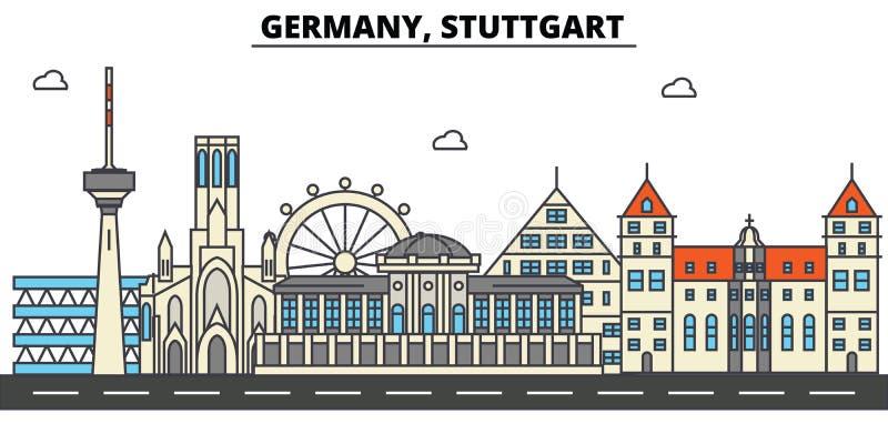 Alemania, Stuttgart Arquitectura del horizonte de la ciudad editable libre illustration