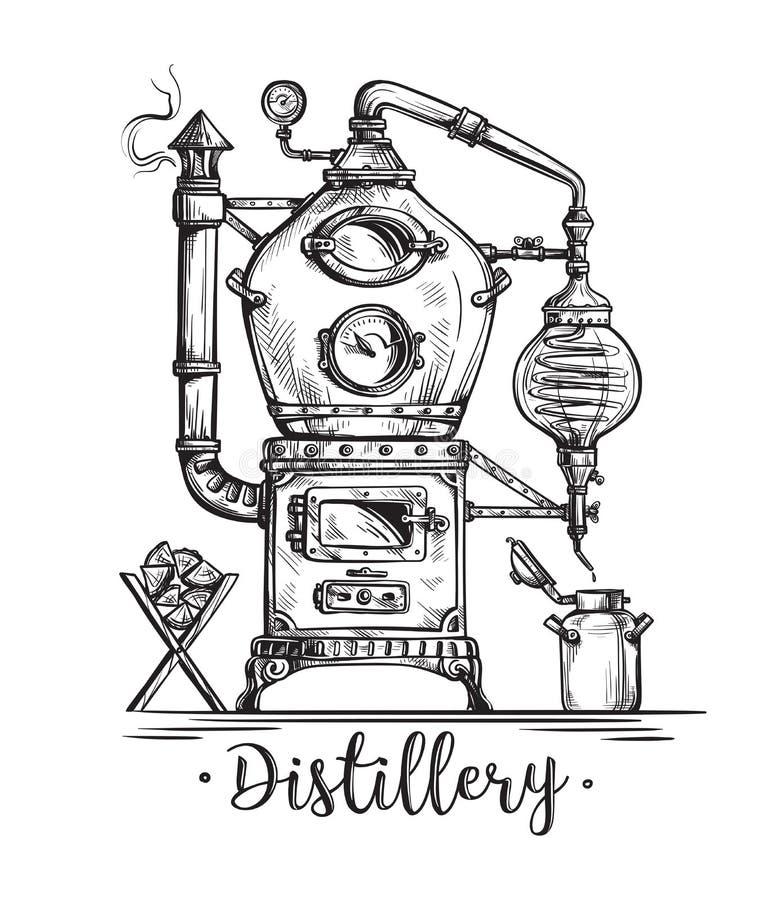 Alembicen för framställning av alkohol inom spritfabrik skissar fortfarande stock illustrationer