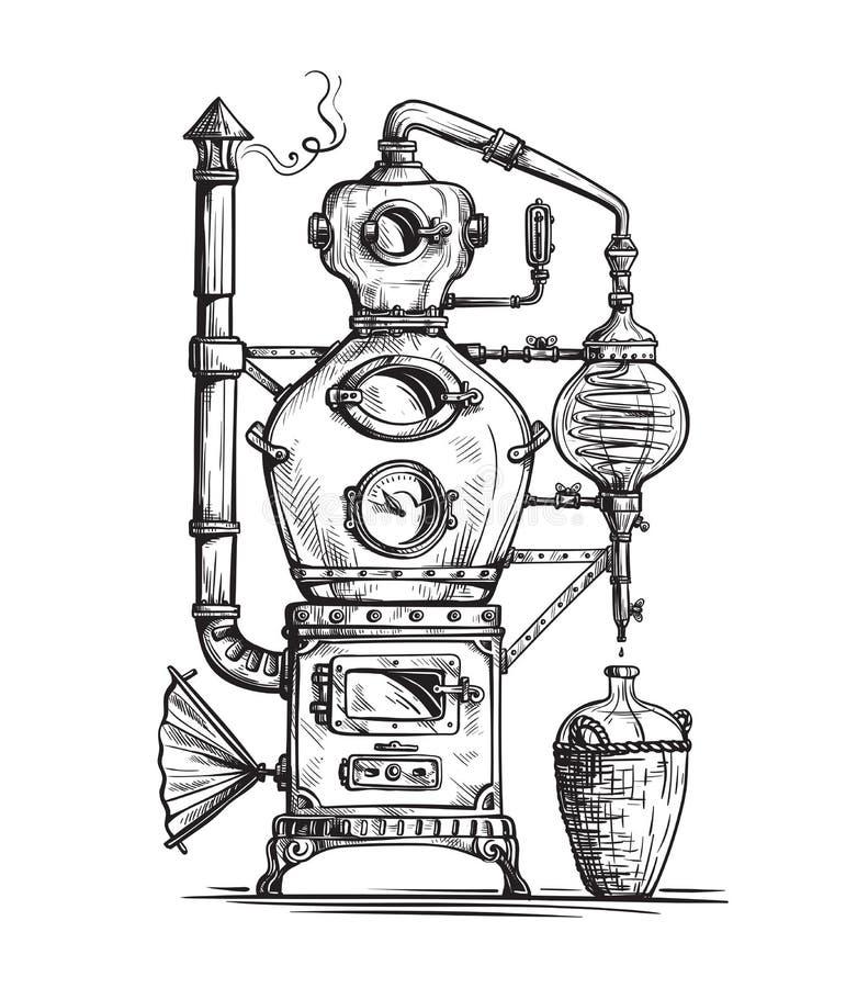 Alembicen för framställning av alkohol inom spritfabrik skissar fortfarande royaltyfri illustrationer