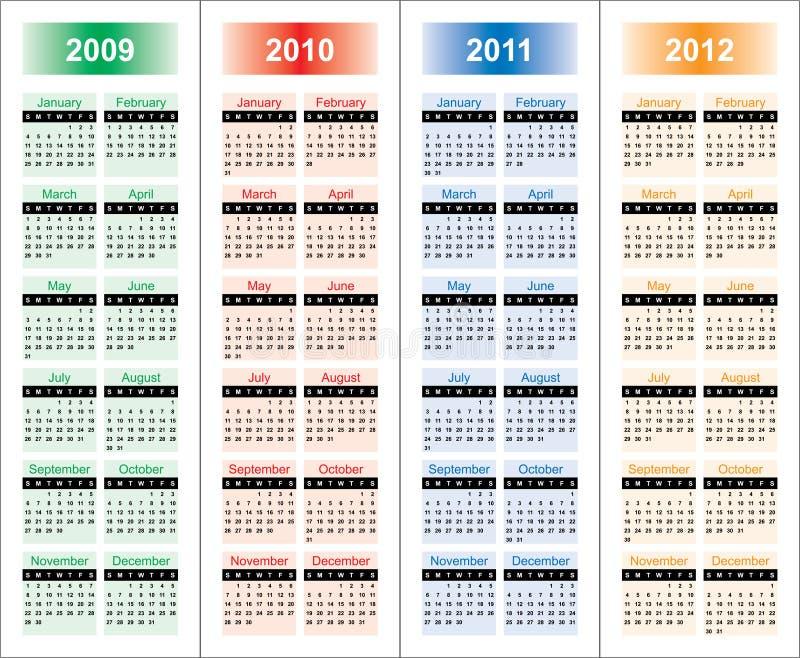 ?alendar van 2009-2012 jaar. vector illustratie