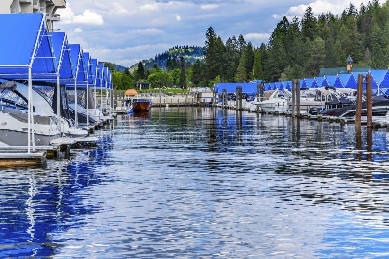 ` Alene Idaho de Marina Lake Coeur d del paseo marítimo imágenes de archivo libres de regalías