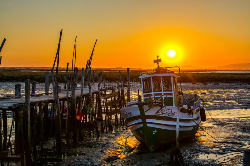 Fishing boats in Carrasqueira ancient fishing port royalty free stock images