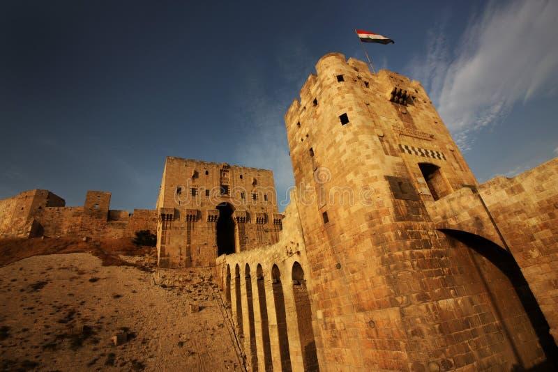 Aleppo Castle in Syria stock image