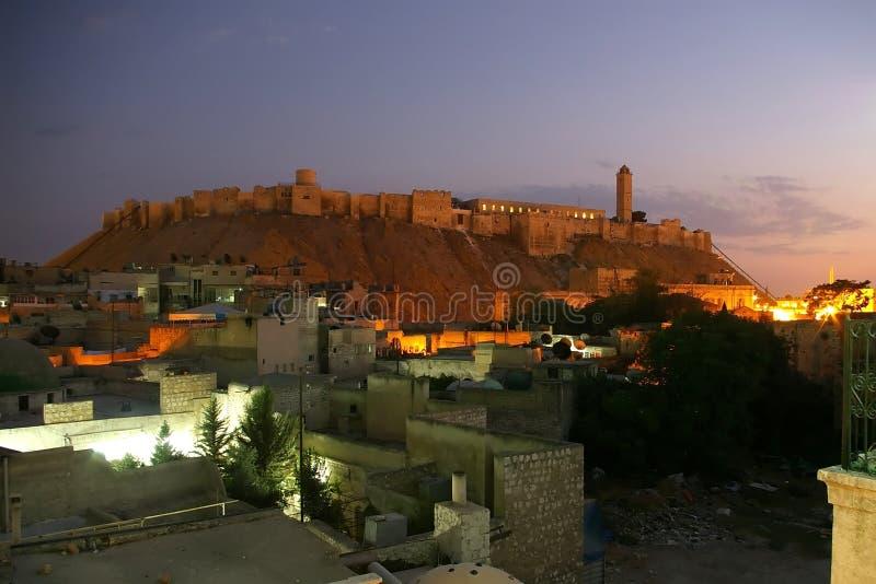 Aleppo Citadel by night stock photo