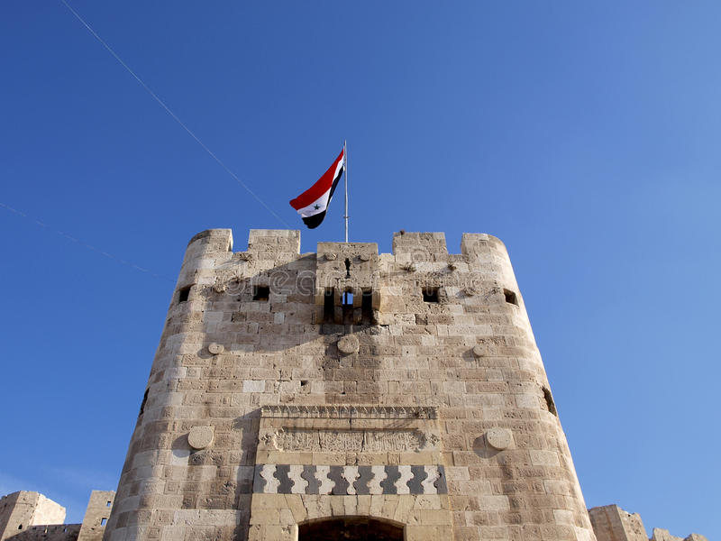 Aleppo citadel in Syria royalty free stock images