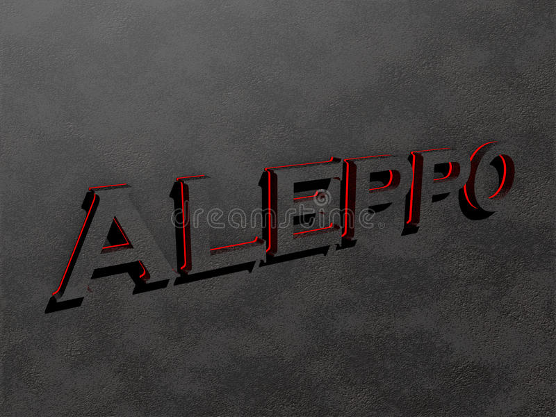 Aleppo red dark grey text letters rock 3d render. Aleppo red dark grey text letters rock wall 3d render royalty free illustration