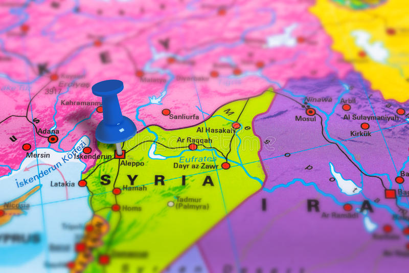 Aleppo Syria map stock photography