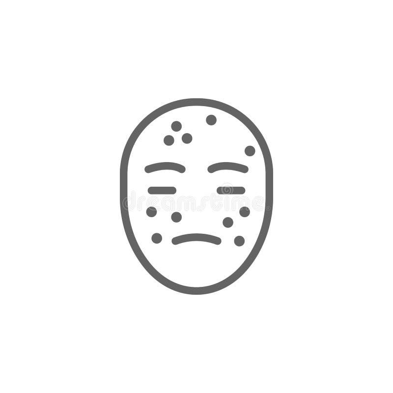 Alergia, ?cone da cara Elemento do ?cone dos cuidados com a pele Linha fina ?cone para o projeto do Web site e o desenvolvimento, ilustração royalty free