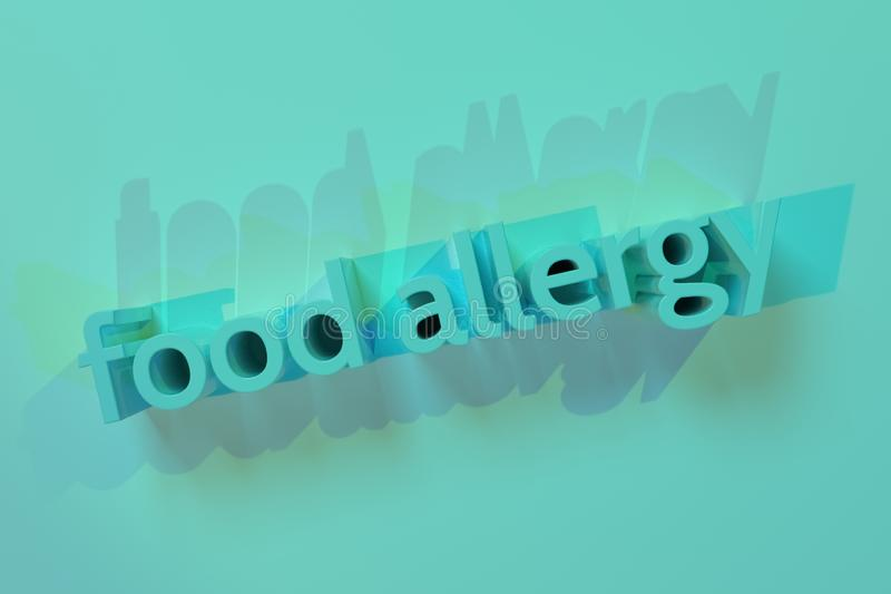 Alergia alimentaria, representación 3D Tipografía abstracta del fondo, palabras claves del cgi para el diseño, recurso gráfico libre illustration