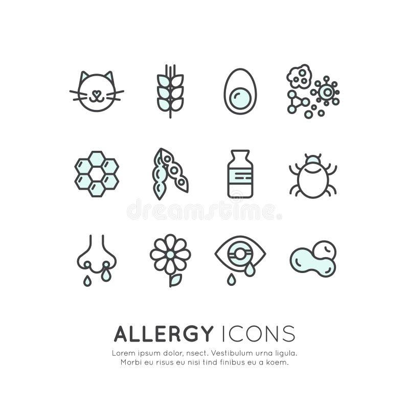 Alergia, alimento e intolerância do animal de estimação, reação da pele, olho e nariz domésticos Desease ilustração royalty free