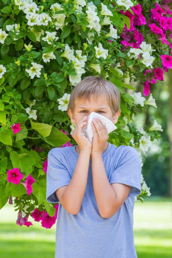 alergia Chłopiec dmucha jego nos blisko drzewa w kwiacie zdjęcia royalty free