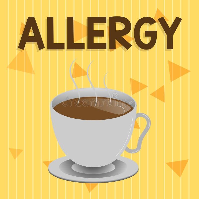 Alergia del texto de la escritura Significado del concepto extremadamente sensible del sistema inmune hacia sustancia particular libre illustration