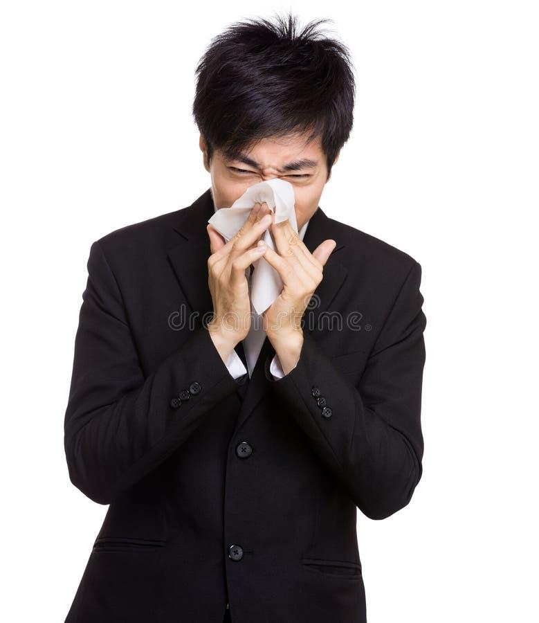 Alergia do nariz do homem de negócios de Ásia imagem de stock royalty free