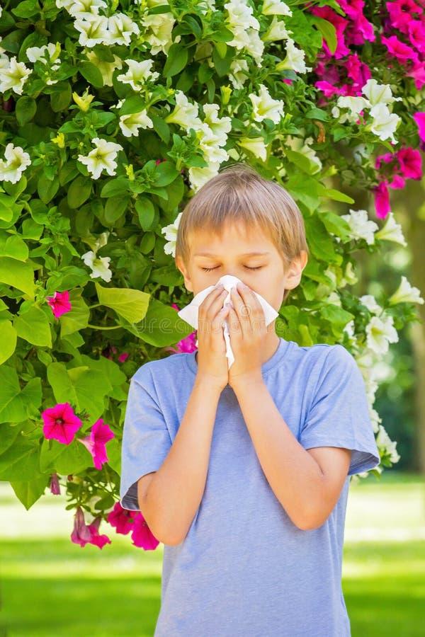 alergia Dzieciak dmucha jego nosów pobliskich kwitnie kwiaty obrazy stock