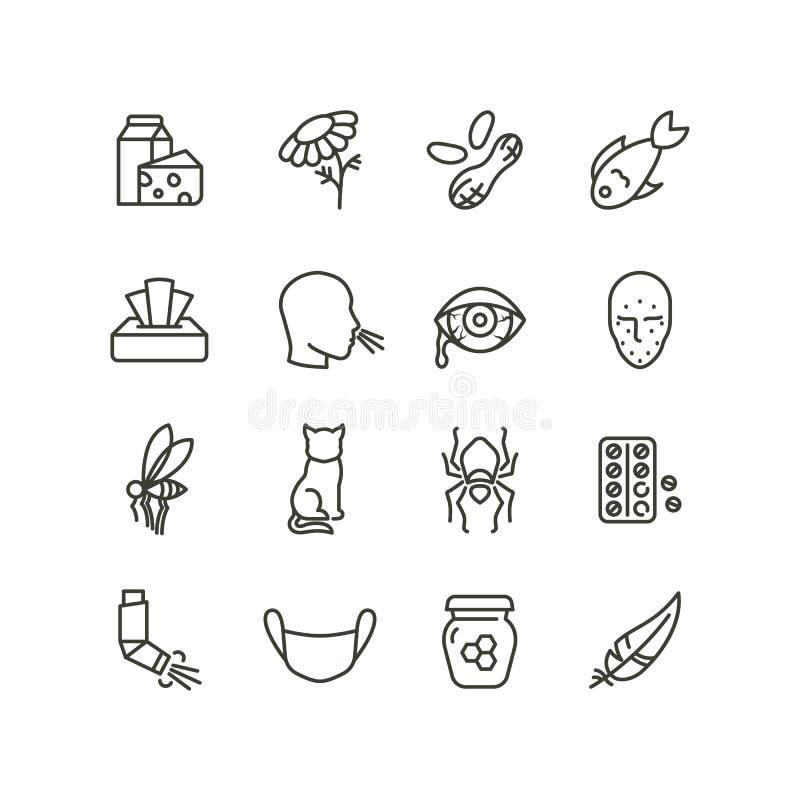 Alergia i rhinitis objawów kreskowe ikony Alergiczni i allergen konturu medycyny wektorowi symbole odizolowywający royalty ilustracja