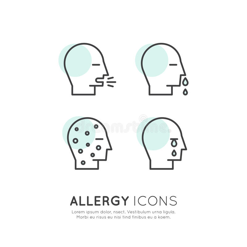 A alergia, o alimento e a doença doméstica da intolerância do animal de estimação, da reação da pele, do olho e do nariz, ícones  ilustração royalty free