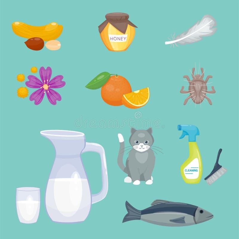 Alergia symboli/lów choroby opieki zdrowotnej wirusów zdrowie choroby allergen objawów karmowej płaskiej choroby ewidencyjny wekt ilustracja wektor