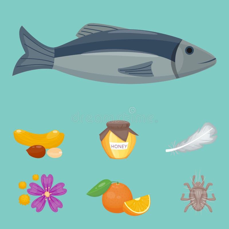 Alergia symboli/lów choroby opieki zdrowotnej wirusów zdrowie choroby allergen objawów karmowej płaskiej choroby ewidencyjny wekt ilustracji
