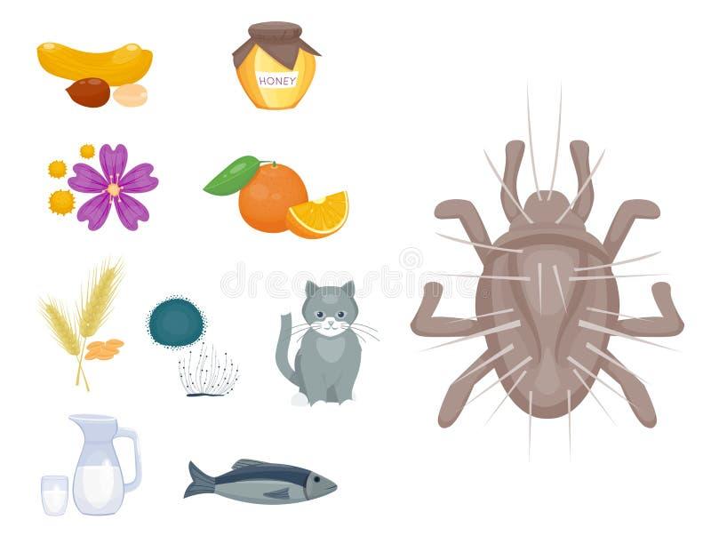 Alergia symboli/lów choroby opieki zdrowotnej wirusów zdrowie choroby allergen objawów karmowej płaskiej choroby ewidencyjny wekt royalty ilustracja