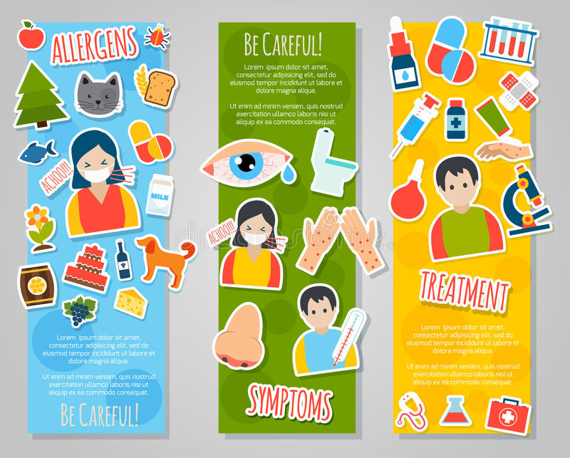 Alergia sztandaru set ilustracja wektor