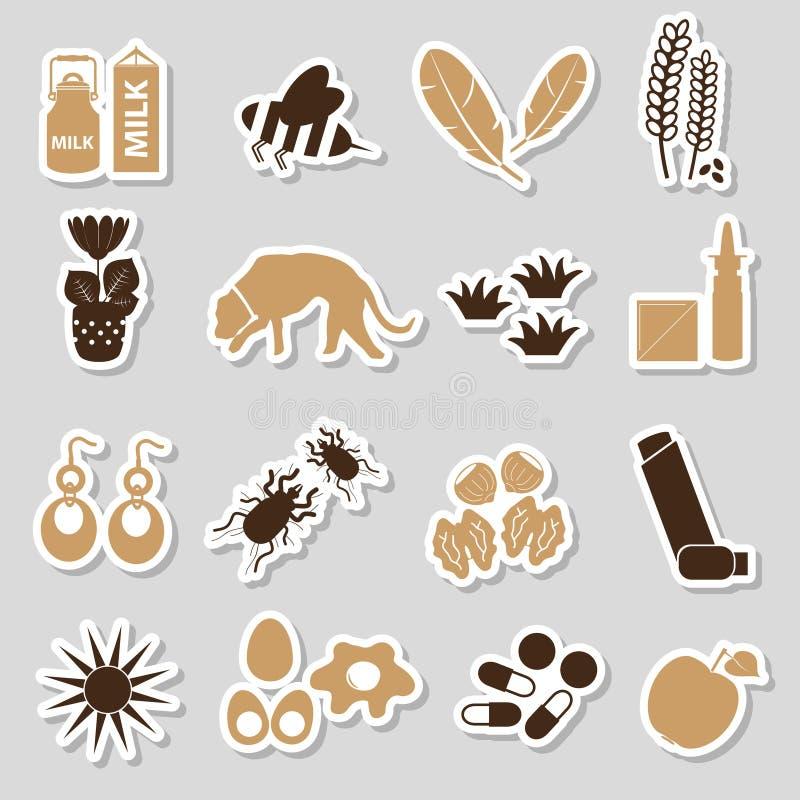 Alergia y etiquetas engomadas del color de los alergénicos fijadas stock de ilustración