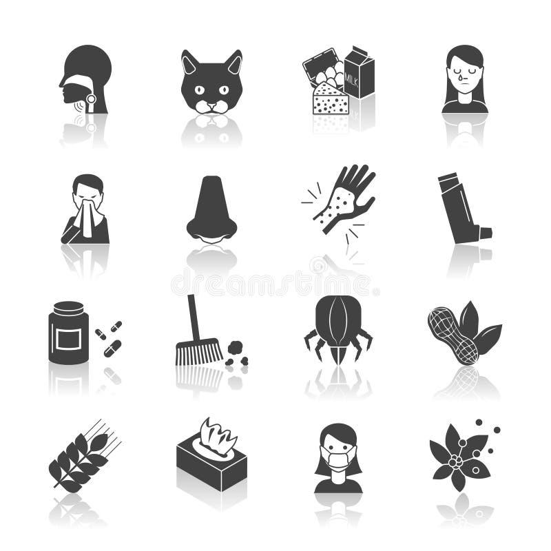Alergii ikony czerń royalty ilustracja