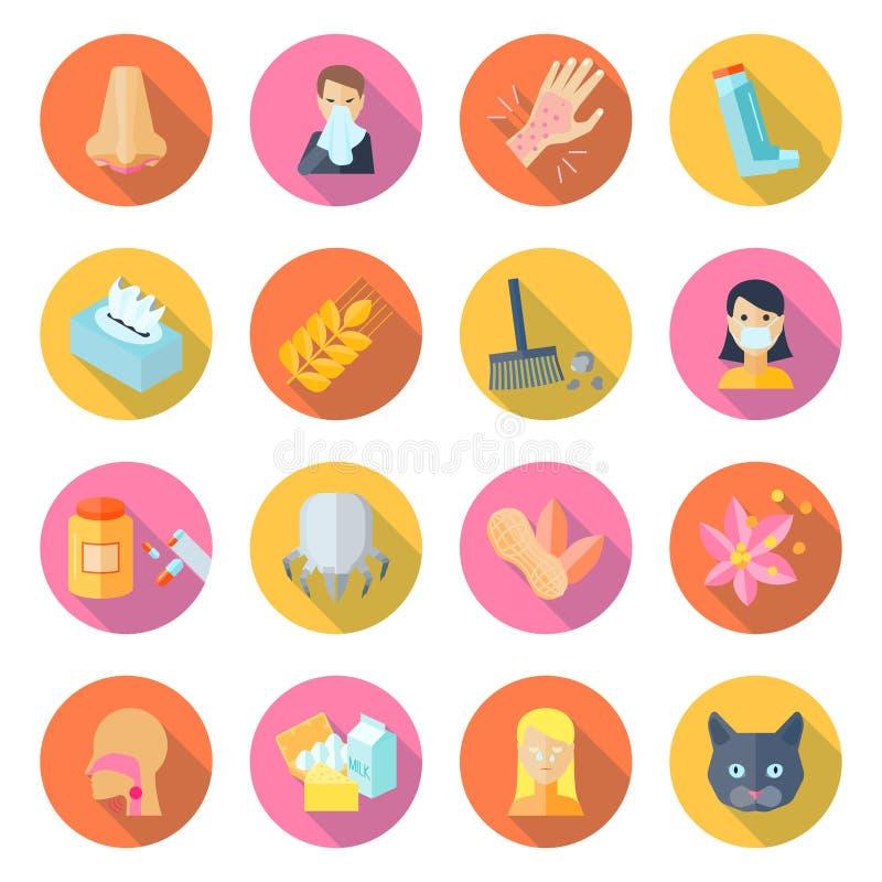 Alergii ikony mieszkanie ilustracja wektor