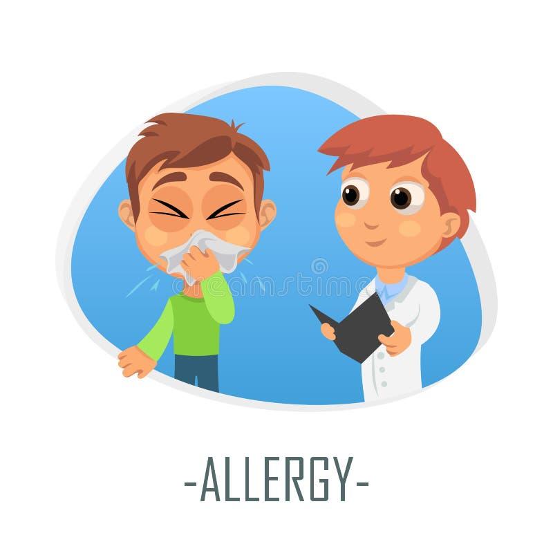 Alergii medyczny pojęcie również zwrócić corel ilustracji wektora royalty ilustracja