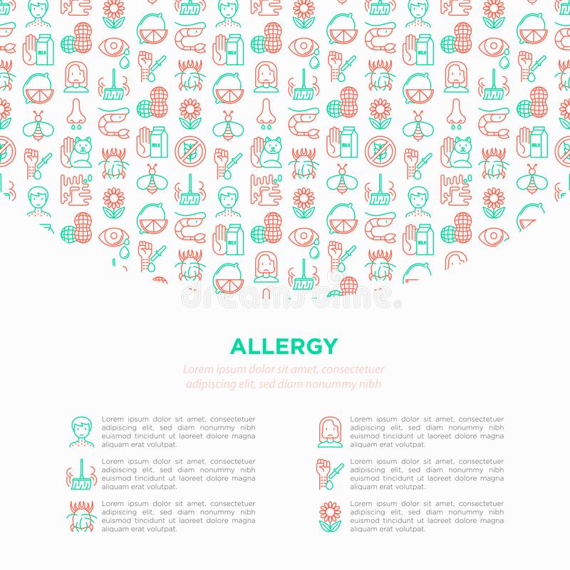 Alergii pojęcie z cienkimi kreskowymi ikonami: cieknący nos, pył, laktozy nietolerancyjność, cytrus, owoce morza, gluten uwalnia, ilustracja wektor