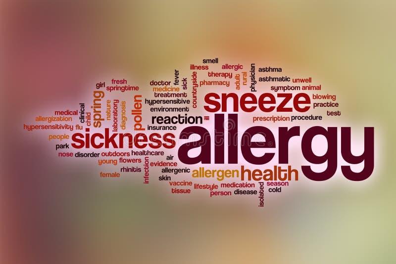 Alergii słowa chmura z abstrakcjonistycznym tłem ilustracji