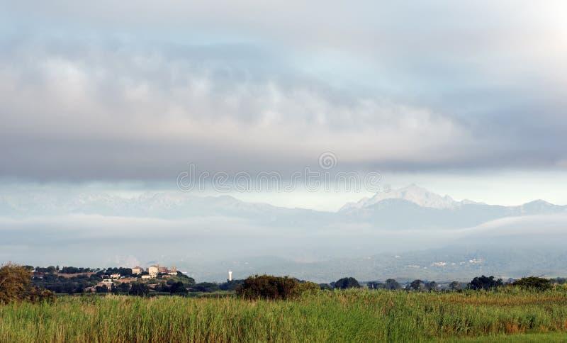 Aleria平原在可西嘉岛海岛 免版税图库摄影