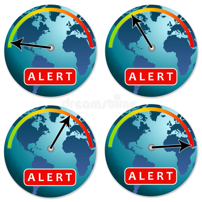 Alert. Different alert phases for the earth's environment or economy vector illustration