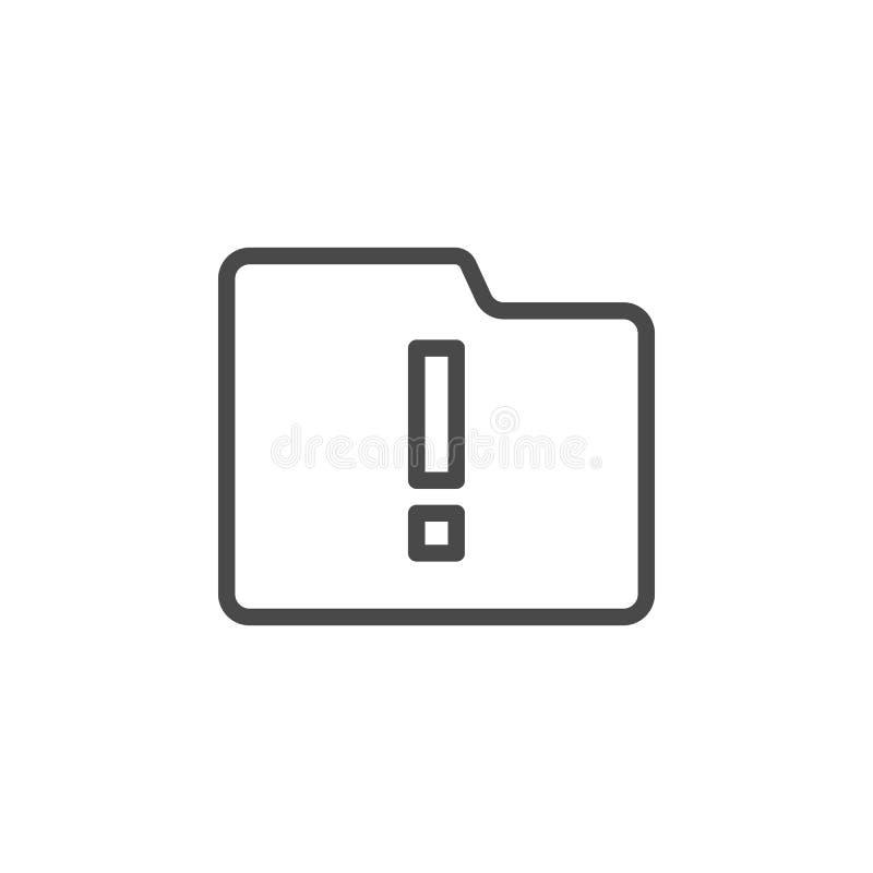 Alert, folder, storage vector icon. Multimedia minimalist outline vector icon royalty free illustration