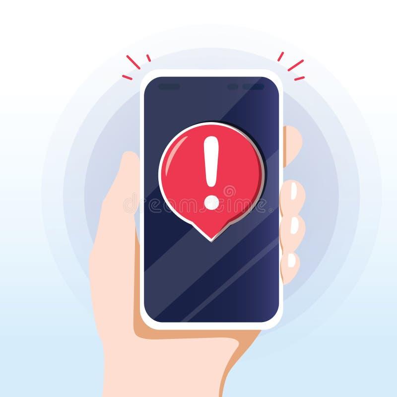 Alert message mobile notification. Danger error alerts, smartphone virus problem or insecure messaging spam problems. Notifications on phone screen, spammer stock illustration