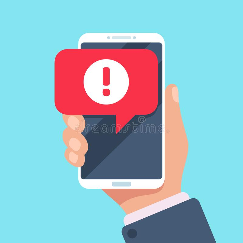 Alert message mobile notification. Danger error alerts, virus problem or spam notifications on phone screen vector. Alert message mobile notification. Danger royalty free illustration